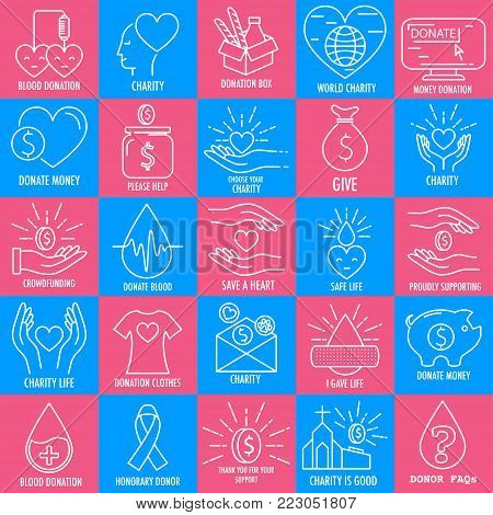 Linear icons set of money and blood donation on pink and blue background. Line vector illustrations of donation money and charity, donation blood.