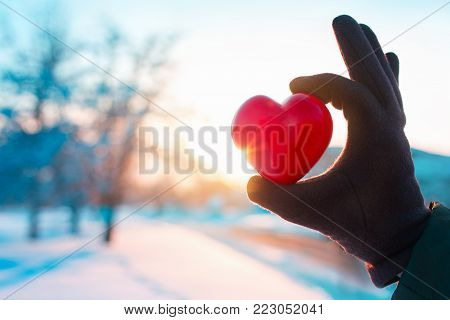 Hand in winter glove holding red heart. Winter nature on sunset as background. Valentine's Day, love, charity, winter season concept. Copy space