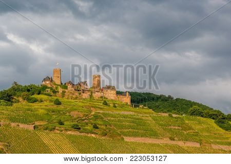 Thurant Castle and vineyards above Moselle river and under dramatic sky near Alken, Germany. Built between 1198 and 1206.