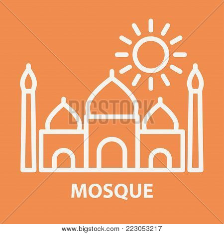 Arabic mosque icon in linear style. Arabian mosque logo template. Vector illustration.
