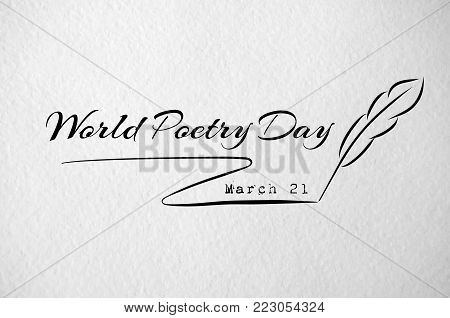 World poetry day card with feather. Paper texture