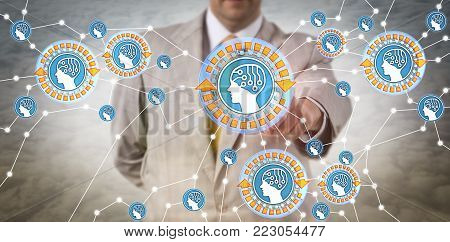 Unrecognizable manager synchronizing intelligent agents via IoT. Concept for artificial intelligence, machine learning, artificial neural networks, deep structured learning, connectionist systems.
