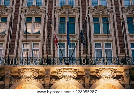 Lille, France - November 11, 2017: Facade Of Chamber Of Commerce And Industry In Lille, France. Towe