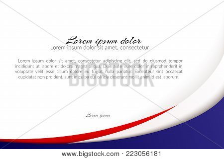 Patriotic background of colors of the national flag of France flowing abstract wavy lines Element for design of template banner card poster on national holidays Patriotic symbol of the country Vector