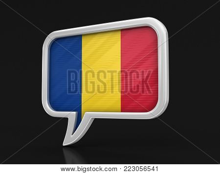 3d illustration. Speech bubble with Romanian flag. Image with clipping path