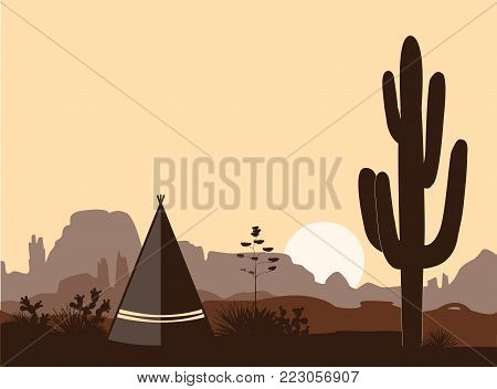 Indian wigwam silhouette with prickly pear, mountains, and saguaro. American sonrise landscape with tribal tepee. Vector landscape