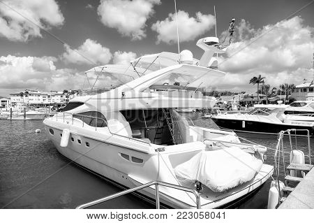 Yachts. Luxury Style Docked In The Port In Bay At Sunny Day With Clouds On Blue Sky In La Romana, Do