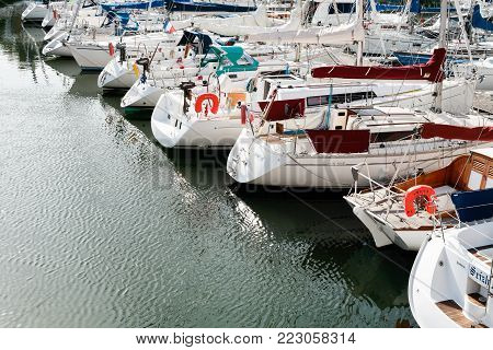 PAIMPOL, FRANCE - JULY 6, 2010: boat in port of Paimpol city. Paimpol is a commune in the Cotes-d'Armor department in Brittany on coast of English Channel.