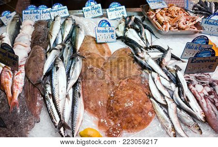TREGUIER, FRANCE - JULY 2, 2010: various atlantic local fresh seafood in outdoor fish market in Treguier town in summer. Treguier is port town in the Cotes-d'Armor department in Brittany