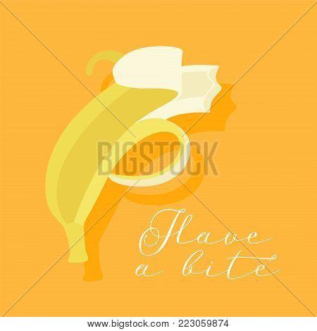 Banana bite vector illustration. Organic banana pealed and half eaten poster or banner