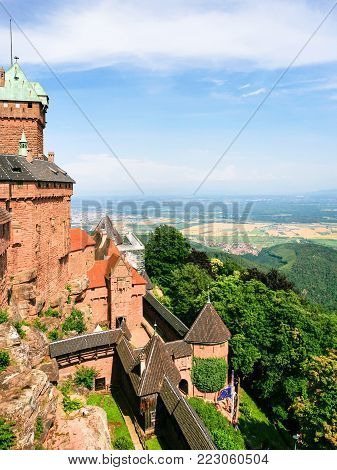 ORSCHWILLER, FRANCE - JULY 11, 2010: view of castle Chateau du Haut-Koenigsbourg in Alsace. First time the castle was mentioned in 1147, the building was restored and rebuilt in 1900-1908