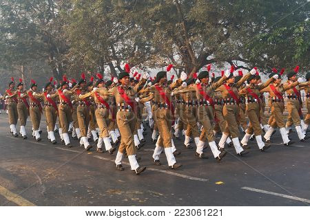 March Past Of India's National Cadet Corps's Lady Cadets