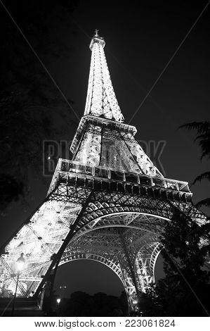 Paris, France-june 1, 2016 : Eiffel Tower With Illumination At Night In Paris, France. Romantic Trav