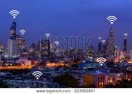 wifi in city ,  wifi sign and high building in the city