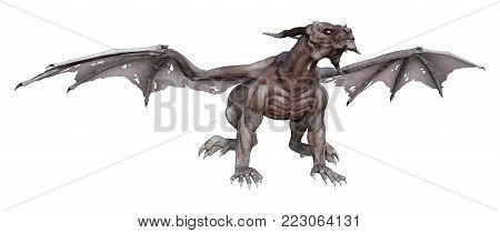 3D Rendering Fantasy Vampire Dragon On White