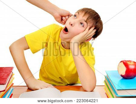 Parent threaten Son for a Learning Isolated on the White Background