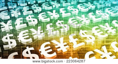 Global Currencies as a Presentation Abstract for Money 3D Render