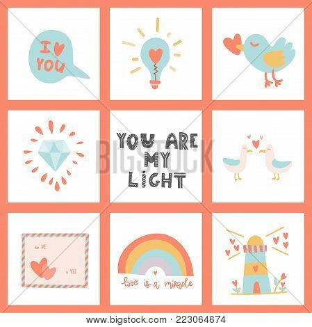 You are my light. Hand drawn lettering and Valentine's Day signs. Stock vector