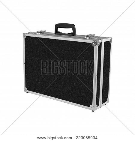 Construction, repair, tools - Grey black box case for tools isolated on white background.