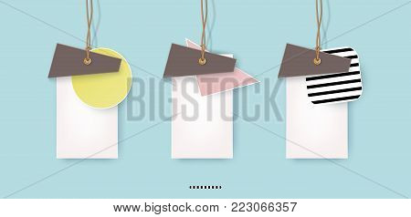 A set of labels on realistic twine, creative design, pastel, overlapping forms., pace for text. Advertising Design shape. Vector illustration
