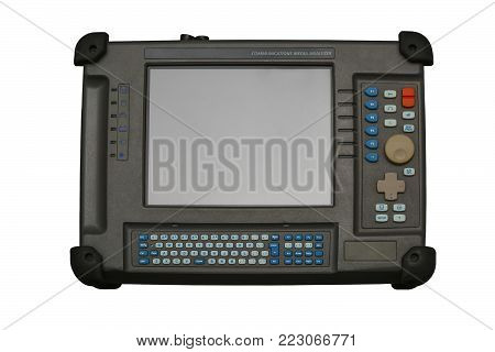 Communications media analyzer, nettest. Device for diagnosing the integrity of  optical lines, finding the broken optical cable, measuring the distance to the damage to the network. Isolated, white background.