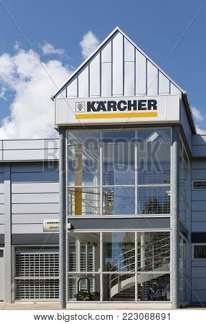 Aarhus, Denmark - June 11, 2016: Karcher store. Karcher is a German family-owned company that operates worldwide and is known for its high pressure cleaners floor care equipment