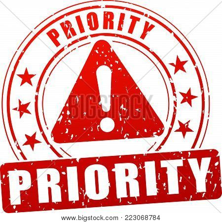 Illustration of priority stamp icon on white background