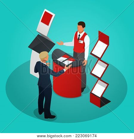 Isometric promotional stands or exhibition stands including display desks shelves and people with products and handout. Vector illustration