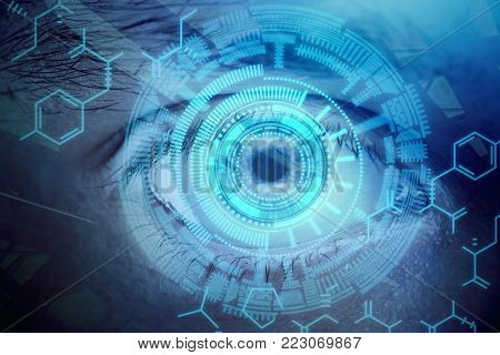 Abstract digital blue eye wallpaper. Vision and biometrics concept. Double exposure