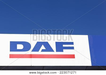 Gellerup, Denmark - May 16, 2016: DAF trucks logo on a wall. DAF Trucks is a Dutch truck manufacturing company and a division of Paccar group. Its headquarters and main plant are in Eindhoven