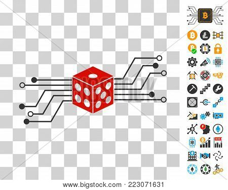 Digital Dice Circuit pictograph with bonus bitcoin mining and blockchain pictographs. Vector illustration style is flat iconic symbols. Designed for bitcoin apps.