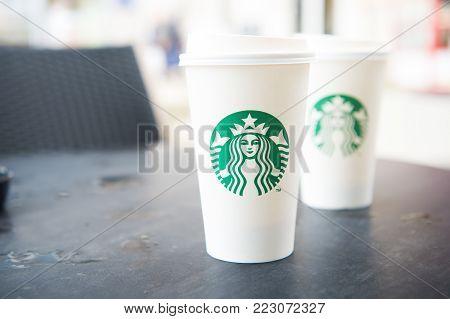 A Tall Starbucks Coffee In Starbucks Coffee Shop