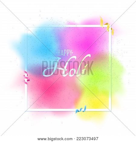 Explosion of colors. Multicolor spray. White banner frame with white text for Happy Holi. Holiday of colors. Multicolor ribbons. Colorful fog dust. Vector illustration