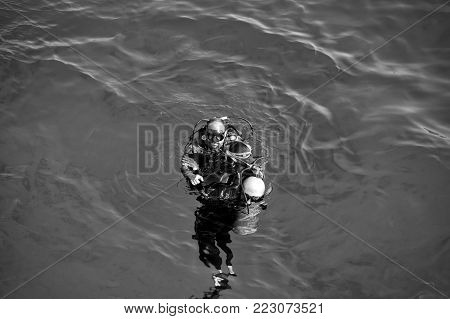 Hurghada, Egypt - February 24, 2017: Underwater, Snorkeling Diver, Man In Wetsuit With Snorkel, Scub