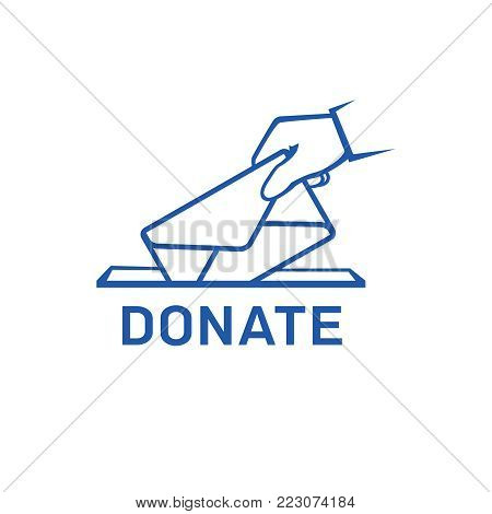 Donation vector icon. Donate money and charity concept. Hand putting envelope to the donation box vector illustration