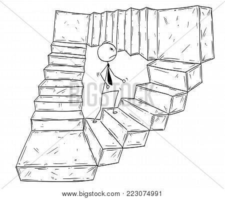 Cartoon stick man drawing conceptual illustration of businessman walking up endless stairs. Business concept of career, work and success.
