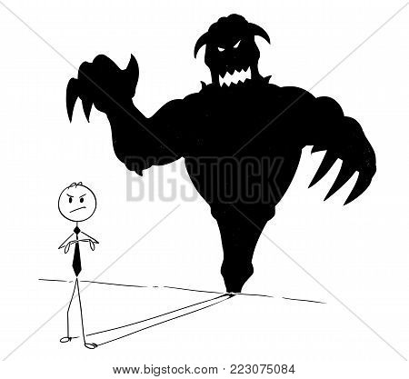 Cartoon stick man drawing conceptual illustration of businessman and his monster or demon inside shadow on the wall. Business concept of success and self confidence.