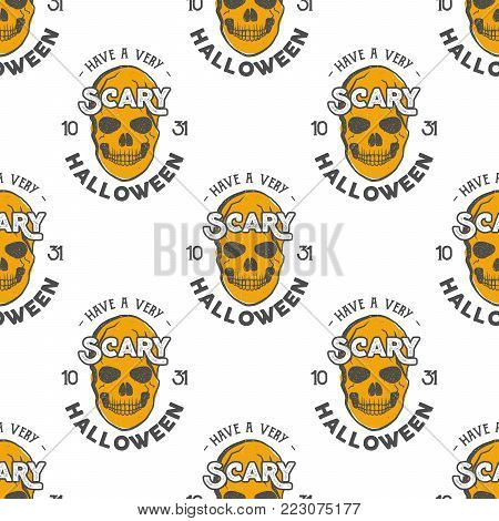 Halloween skulls seamless pattern with holiday wish typography. Scary halloween wallpaper. Stock vector isolated on white background. retro colors. Vintage hand drawn design.