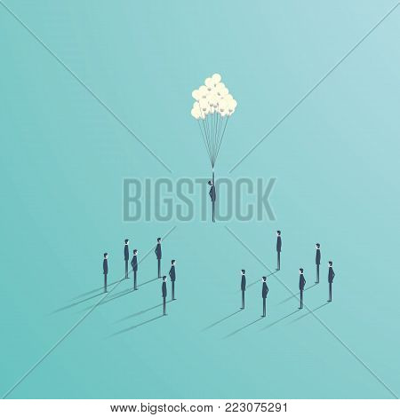 Business creative ideas vector concept with team of people and flying baloon from lightbulbs. Symbol of creativity, innovation, leadership. Eps10 vector illustration.