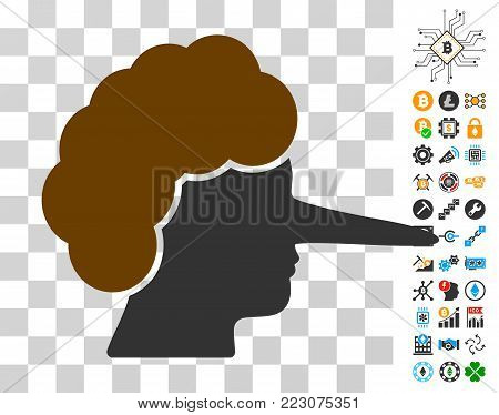 Lier icon with bonus bitcoin mining and blockchain icons. Vector illustration style is flat iconic symbols. Designed for bitcoin websites.