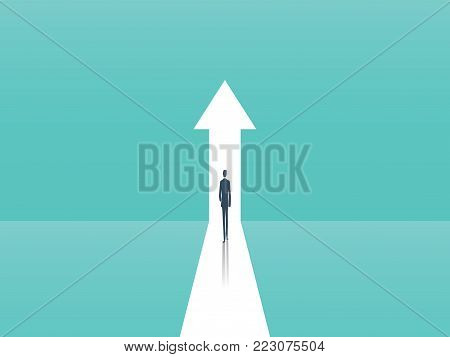 Business growth vector concept with man walking towards upwards arrow. Symbol of success, promotion, career development. Eps10 vector illustration.