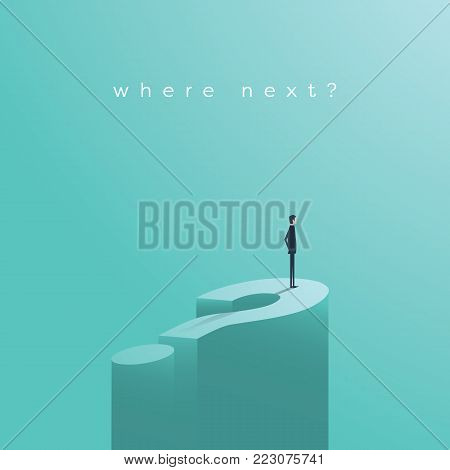 Business decision vector concept with businessman standing on huge question mark. Symbol of future, opportunity, planning, vision. Eps10 vector illustration.