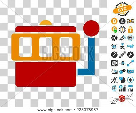One-Armed Bandit icon with bonus bitcoin mining and blockchain graphic icons. Vector illustration style is flat iconic symbols. Designed for crypto-currency ui toolbars.