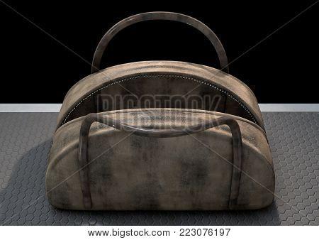 Open Empty Brown Duffel Bag