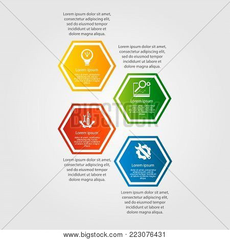 Modern Vector Illustration. Infographic Pattern With Four Hexagon Elements. Contains Icons And Text.