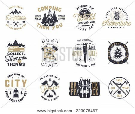 Vintage hand drawn travel badge and emblem set. Hiking labels. Outdoor adventure inspirational logos. Typography retro style. Motivational quotes for prints, t shirts, mug, tee. Stock vector design.