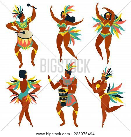 Set of Brazilian samba dancers Rio. Vector carnival girls and guy dancing.