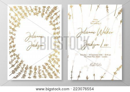 Gold wedding invitation with lavenders. Gold cards templates for save the date, thank you card, wedding invites, menu, flyer, background, greeting cards, postcards