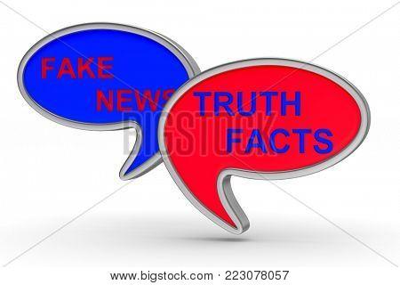 Fake news. talk balloon on white background. Isolated 3D illustration