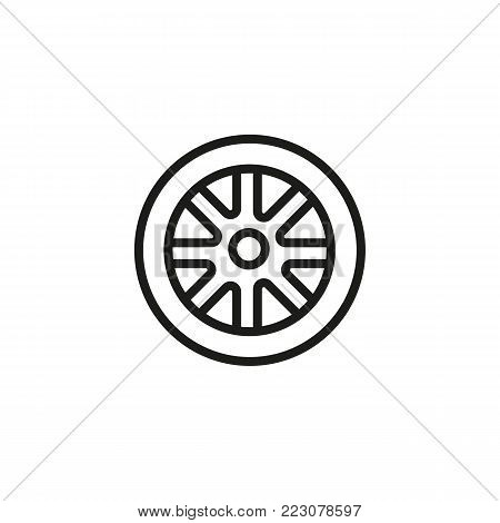 Icon of car wheel. Alloy, tire, disc. Car service concept. Can be used for topics like automobile, car accessory, technical support.